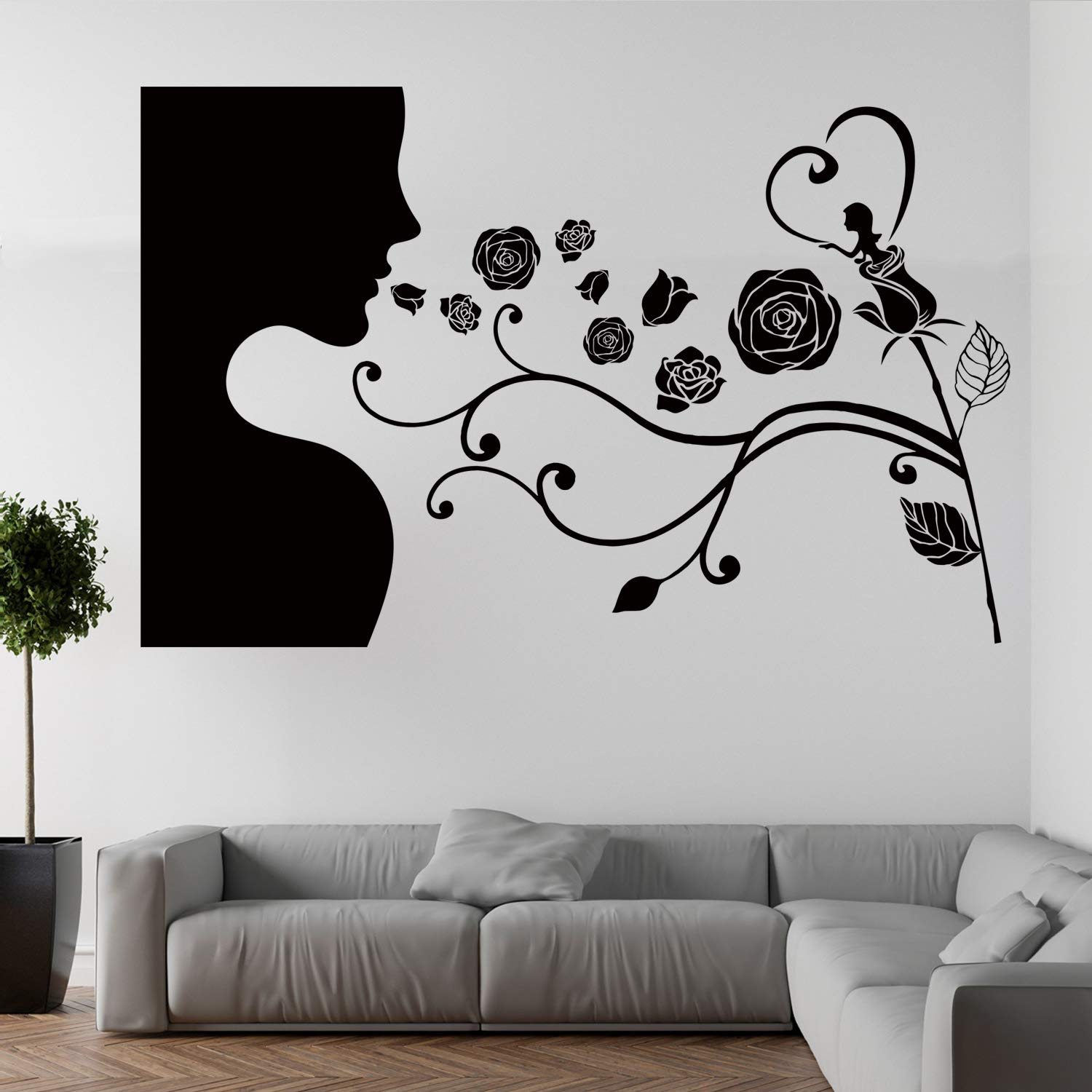 VODOE Flower Wall Decals, Ideas Wall Decal, Plant Rose Tree Leaf Branch Boys Girls Personalized Stickers Suitable for Family Living Room Vinyl Art Home Decor(Black 24.4 X 15.7 inches)