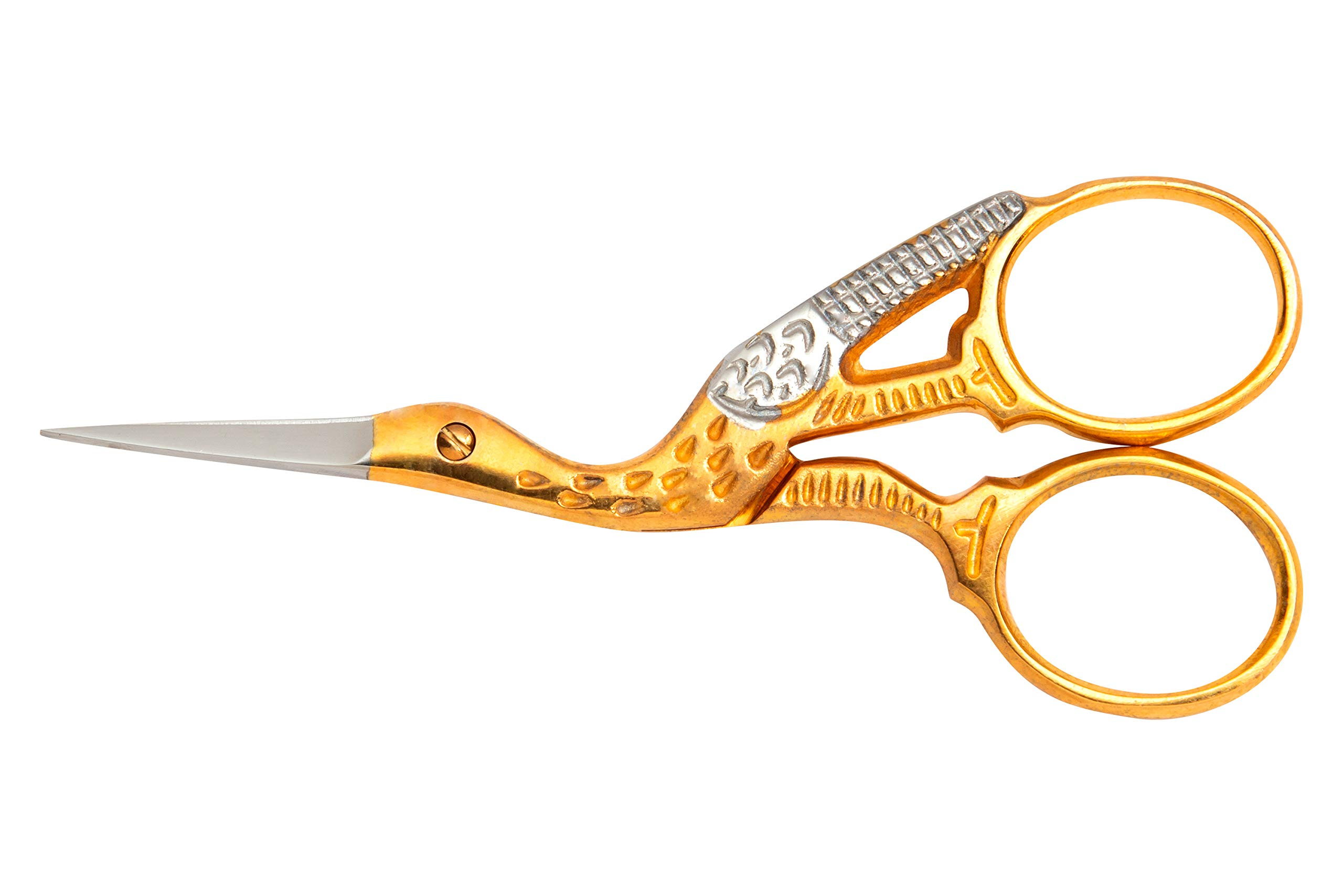 Mundial 3-1/2-Inch Classic Forged Stork Embroidery Scissors, Gold Plated Finish