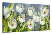 """Canvas Wall Art Tulip Flowers Elegant Picture White Colorful Blossom Artwork Florals Painting Prints, Gallery Wrapped Artwork Framed 48"""" x24 Modern Large Size for Living Room Bedroom Home Office Décor"""
