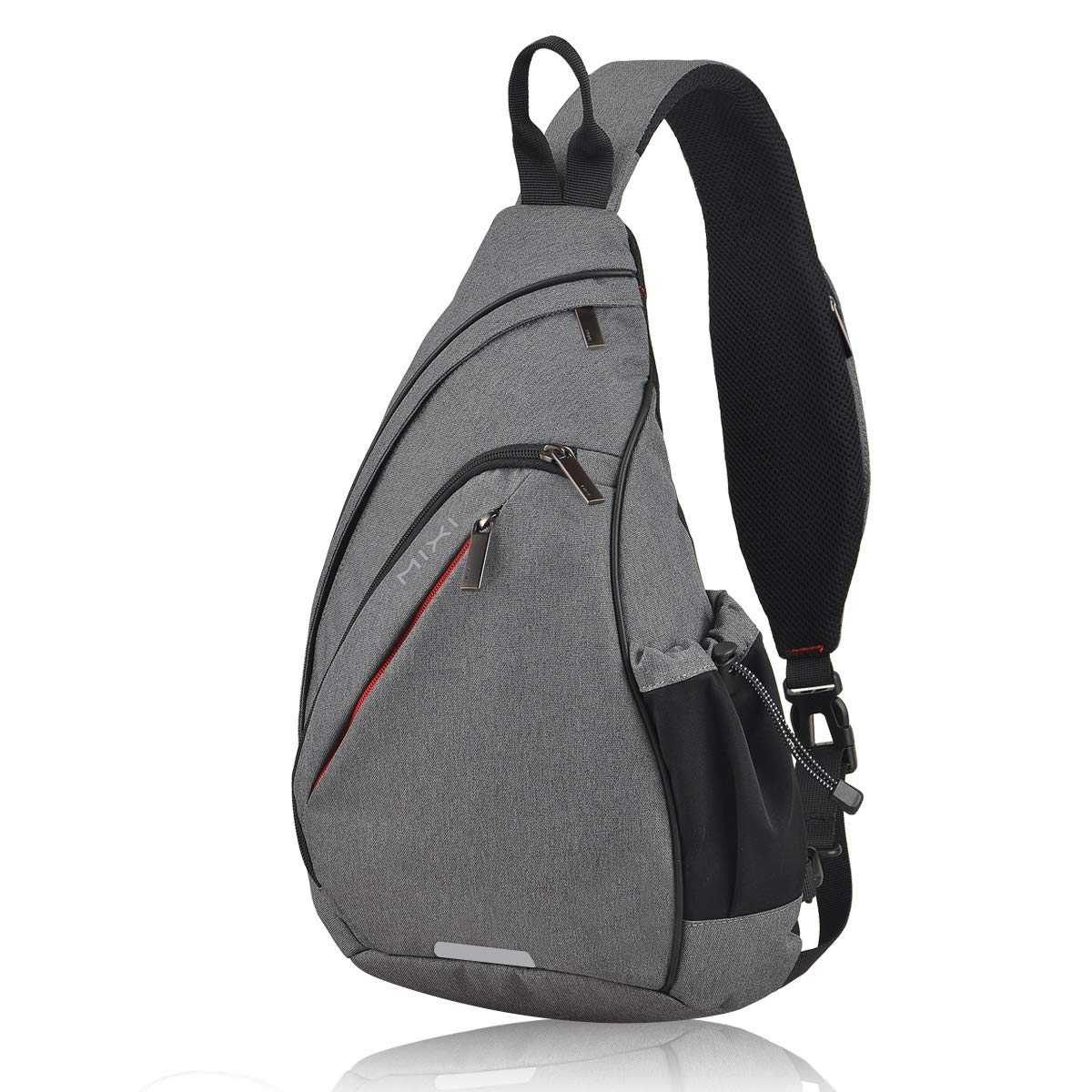 Hanke Sling Bag with USB Port Water Repellent Crossbody Personal Pocket Bag Lightweight Chest Bag for Cycling Walking Hiking Daypacks-17 inch,Grey