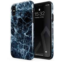 BURGA Phone Case Compatible with iPhone Xs MAX - Dark Ice Blue and Black Marble Cute Case for Girls Heavy Duty Shockproof Dual Layer Hard Shell + Silicone Protective Cover