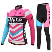 MILOTO Women's Cycling Fleece Jersey Set Long Sleeve Padded Pants Suit