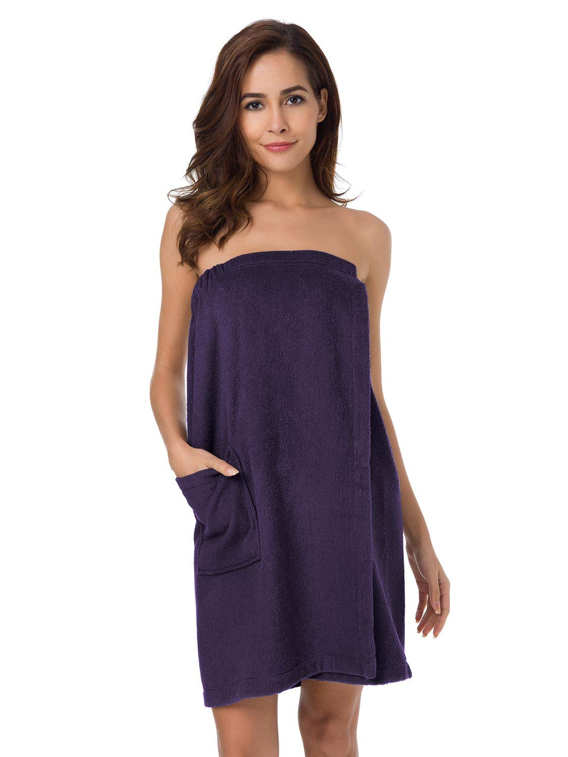 SIORO Women's Towel Wrap, Bamboo Cotton Bath Wraps with Adjustable Closure, Spa Towel Dress Gym and Shower Robes