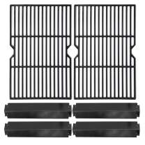 Hongso Porcelain Cast Iron Cooking Grid Grill Grates and Porcelain Steel Heat Plates Replacement Kit for Charbroil 463268008 463244011 463212511 463224611 Kenmore 415.166579 Gas Grill PCF652-PPC3214