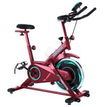 ANCHEER Exercise Bike, Indoor Cycling Bike Stationary with Heart Rate Monitor & LCD Monitor, Comfortable Seat Cushion, Heavy Flywheel Upgraded Version, Multi - Grips Handlebar