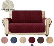 """Ameritex Loveseat Cover Water-Resistant Quilted Furniture Protector with Back Nonslip Paws Slipcover for Dogs, Kids, Pets Loveseat Slipcover Stay in Place for Leather (46"""", Burgundy)"""