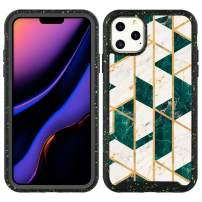 Valetoo iPhone 11 Case Gold Geometric Green Marble Full-Body Hybrid Rugged Bumper Shockproof Protective Cover Case for iPhone 11 6.1 Inch