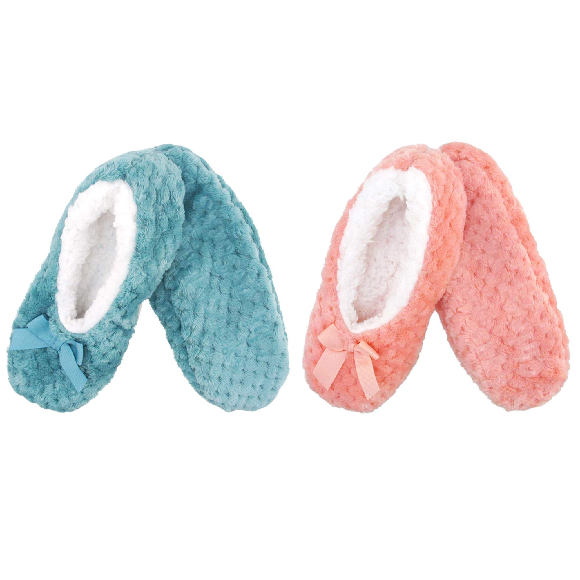 Adult Super Soft Warm Cozy Fuzzy Soft Touch Slippers Non-Slip Lined Socks, Assortment F, Medium 2 Pairs