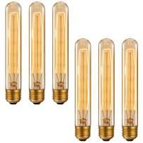 TORCHSTAR 40W Dimmable Vintage Edison Bulb, E26 Medium Base, Unique Tubular Design, T30 T185 Golden Tinted Glass Antique Bulb, 2200K Amber Light for Chandelier, Industrial Hanging, Pendant, Pack of 6