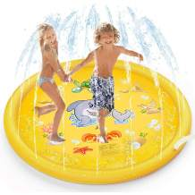 LIKETURE Sprinkler Pad Splash Play Mat [Upgraded] 68 Inches Outdoor Party Water Toys for Toddlers Boys Girls Children Extra Large Sprinkle Toys for Kids and Adults in Hot Summer (Yellow Ocean)