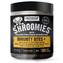 Shroomies - Organic Mushroom Complex for Dogs - Turkey Tail, Lions Mane - DHA, EPA, Turmeric and Kelp - 180 Soft Chews - Immunity, Cognitive Support and Joint Health