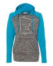 Orange Arrow Womens Minnesota Home Hoodie - MN Colorblock Sweatshirt by Hometown Hoodies
