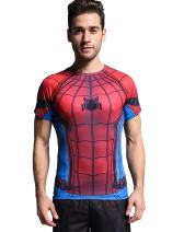 Red Plume Spider Classical Men's Compression Sports Shirt Short Sleeve Athletic Tee