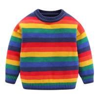 Mud Kingdom Cute Little Boys Girls Sweater Colorful Rainbow Stripe Pullover