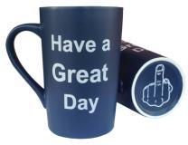 MAUAG Funny Coffee Mug Have a Great Day Funny Cup Dark Blue, 13Oz
