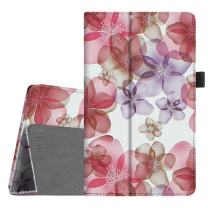 Fintie Folio Case for All-New Amazon Fire HD 8 Tablet (Compatible with 7th and 8th Generation Tablets, 2017 and 2018 Releases) - Slim Fit Vegan Leather Standing Protective Cover, Silk Flowers
