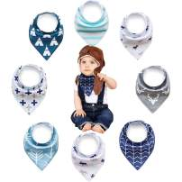Olyssa & Co Baby Bandana Drool Bibs for Drooling Teething Boys - 8 Pack + Bonus - Free -Teething Ring - Super Soft Organic Cotton Front & Ultra Absorbent Backing. Perfect Baby Shower Gift Set.