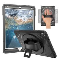 iPad Air 3 Case, iPad Pro 10.5 Case with Hand Strap - Heavy Duty Full-Body Rugged Protective Case - 360 Degree Rotating, Kickstand, Shockproof, Kids Proof, Scratch Proof (Black)