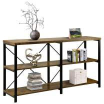 Petiture Rustic Console Sofa Table, Industrial Long Side Table TV Stand, Hallway Entryway for Living Room with 3-Tier Storage Shelves