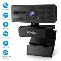 1080P Webcam with Dual Microphone, HOMIEE Full HD Web Camera with Noise Reduction and Automatic Light Correction Function,110 Degree View Angle USB Web Cam for Video Calling Conferencing