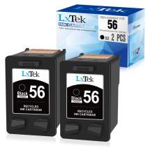 LxTek Remanufactured Ink Cartridge Replacement for HP 56 C6656AN to use with Deskjet 5850 5650 5150, Photosmart 7150 7260 7350 7960, PSC 2510 Printer(2 Black)