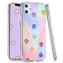 LuGeKe Cute Dog Paws Print Phone Case for iPhone 11 Pro 5.8 inch Silicone Cases Little Drops of Water Pattern Cover Shock Absorption Flexible Skin Frame