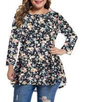 MONNURO Womens 3/4 Sleeve Casual Loose Fit Swing Plus Size Tunic Tops Basic T Shirt