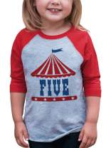 7 ate 9 Apparel Boy's Birthday Five Circus Red Raglan