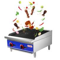 """Grill and 24"""" Natural Gas Countertop Charbroiler - KITMA Commercial Radiant Charbroiler Gas Barbecue Grill - Stainless Steel Gas grill - Restaurant BBQ Equipment, 70000 BTU"""