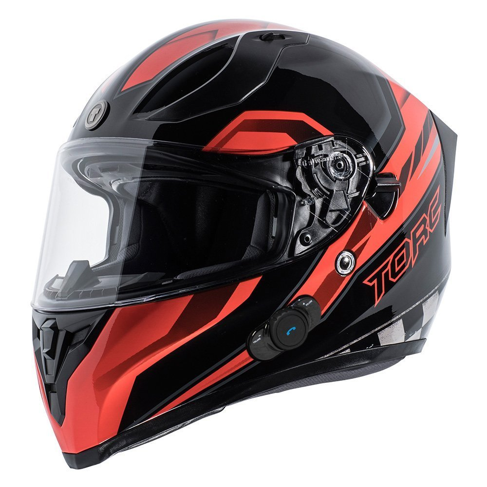 TORC Unisex-Adult Full-face Style T15B Bluetooth Integrated Motorcycle Helmet With Graphic (Gloss Black Edge Red, MEDIUM)