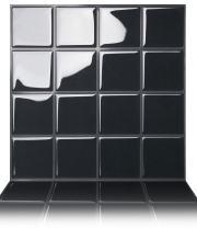 """Tic Tac Tiles 5-Sheet Peel and Stick Tile Kitchen Backsplash, Big Square Stick on Backsplash Tile, 10"""" x 10"""",Dark Grey"""