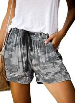 Acelitt Women Summer Drawstring Elastic Waist Casual Camo Shorts with Pockets