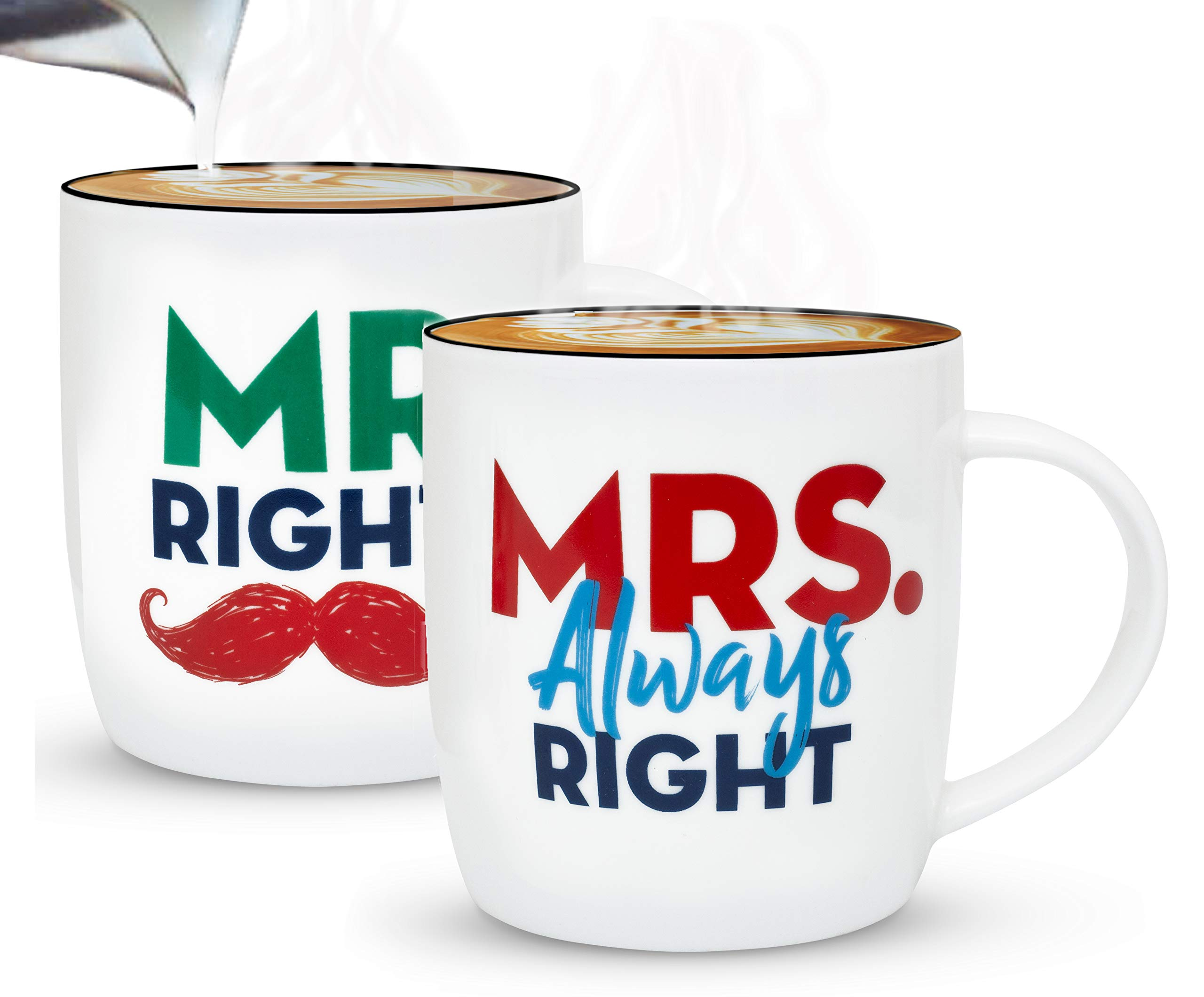 Triple Gifffted Mr Right and Mrs Always Right Coffee Mugs, Couples Gifts Set For Wedding Anniversary and Engagement, Funny Couple Valentines Day Gift For Her, Christmas, Bride Groom Men Women, Cups
