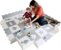 """Baby Play Mat with Edges EXTRA LARGE 6ft x 6ft EXTRA THICK 0.56"""" Interlocking Foam Tiles with Sea Creatures Patterns 