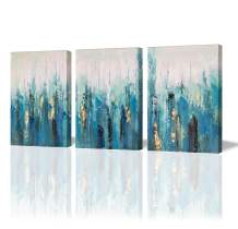 Paimuni Blue Abstract Modern Canvas Print 3 Panel with Embellishment Gold Foil Wall Pictures for Home Decoration, Ready to Hang