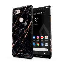 BURGA Phone Case Compatible with Google Pixel 3 XL - Black Rose Gold Marble Meteor Shower Cute Case for Girls Thin Design Durable Hard Shell Plastic Protective Case
