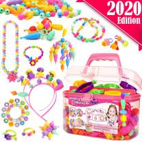 FunzBo Snap Pop Beads for Girls Toys - Kids Jewelry Making Kit Pop-Bead Art and Craft Kits DIY Bracelets Necklace Hairband and Rings Toy for Age 3 4 5 6 7 8 Year Girl Old