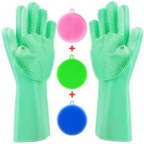 Tebba Magic Dishwashing Gloves Silicone Scrubber Sponges - Reusable Rubber Great Washing Dish Kitchen Car Bathroom Pet Care