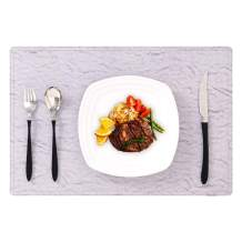 NFUSPR Placemats Set,Water-Proof, Dirt-Resistant and Heat-Resistant Leather Placemats to Protect The Dining Table Mats Set of 6 (Marble&Purple)