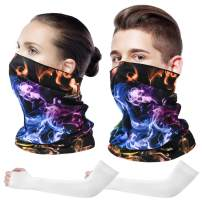 Neck Gaiter Face Scarf Mask Dust Protection Bandana with Ice Silk Sleeves