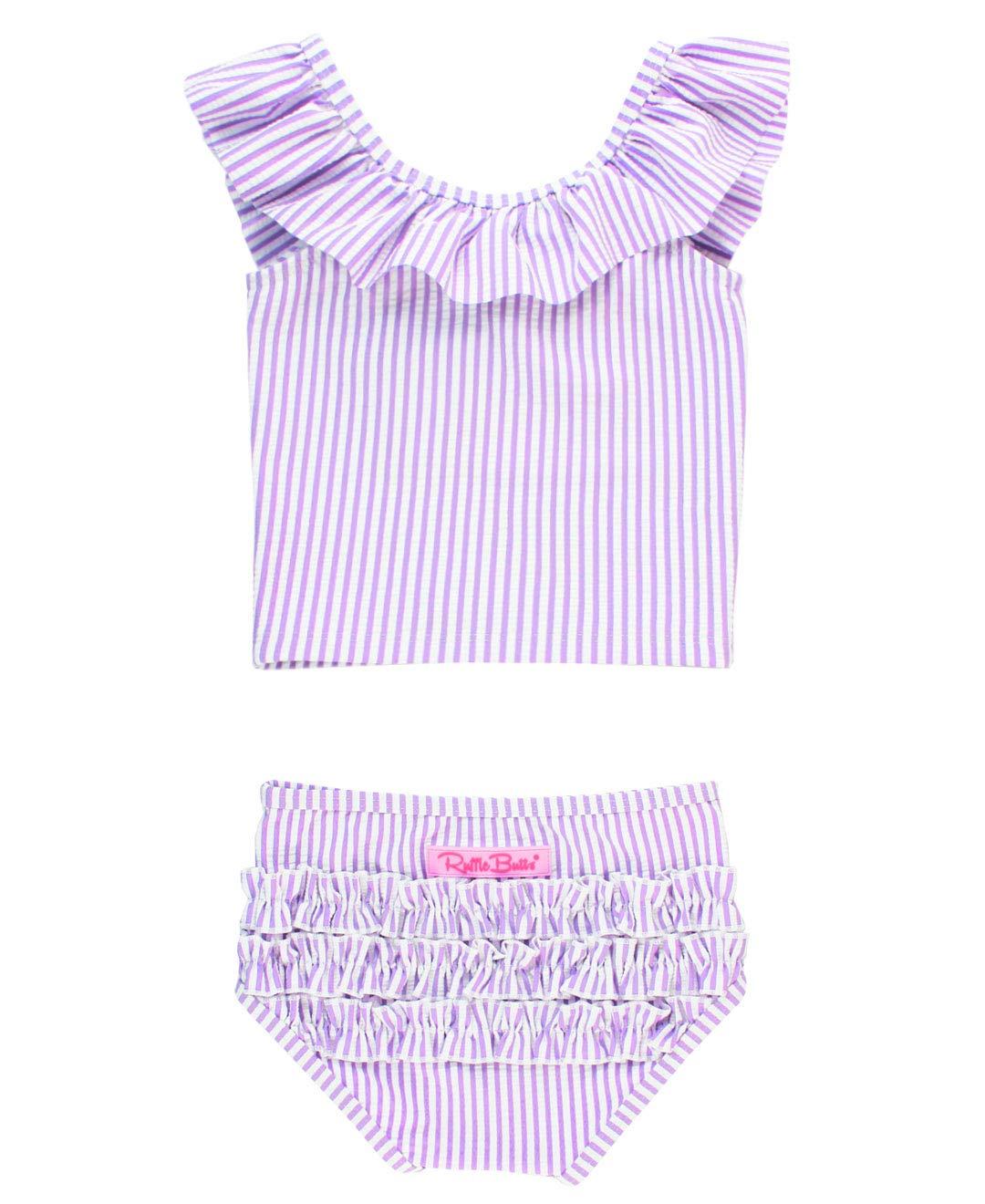 RuffleButts Baby/Toddler Girls Ruffle Crop Top Tankini Swimsuit 2-Piece UPF 50+ Sun Protection