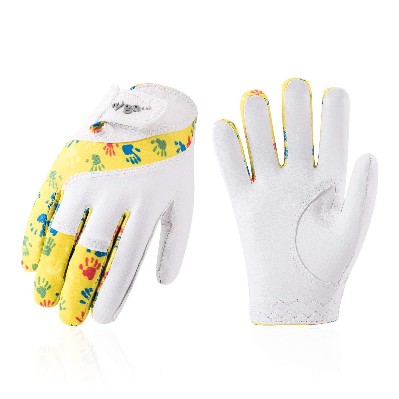 Vgo... Kids Soft Sheep Leather Breathable Lycra Golf Gloves (Yellow, GA7990)