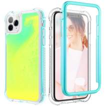 Caka Case for iPhone 11 Pro Liquid Case Girls Women Fahion Protective Fluorescent Heavy Duty Protection Glow Neon Sand Flowing Luminous Case for iPhone 11 Pro (5.8 inch) (Green Yellow)