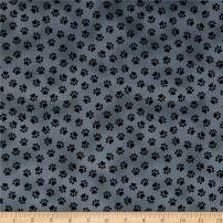 Windham Fabrics Somebody To Love Whistler Paw Print Charcoal Fabric Fabric by the Yard