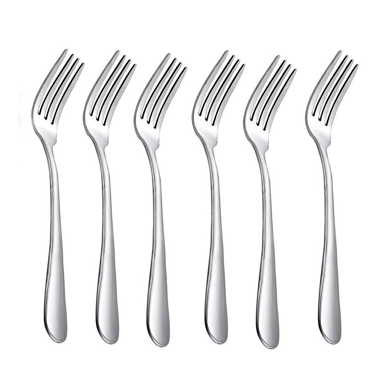 HornTide 6-Piece Dinner Forks Set 4 Tines Table Fork Flatware Stainless Steel Mirror Polishing 7-Inch 18cm