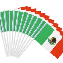 "Anley Mexico Stick Flag, Mexican 5x8 inch Handheld Mini Flag with 12"" White Solid Pole - Vivid Color and Fade Resistant - 5 x 8 inch Hand Held Stick Flags with Spear Top (1 Dozen)"