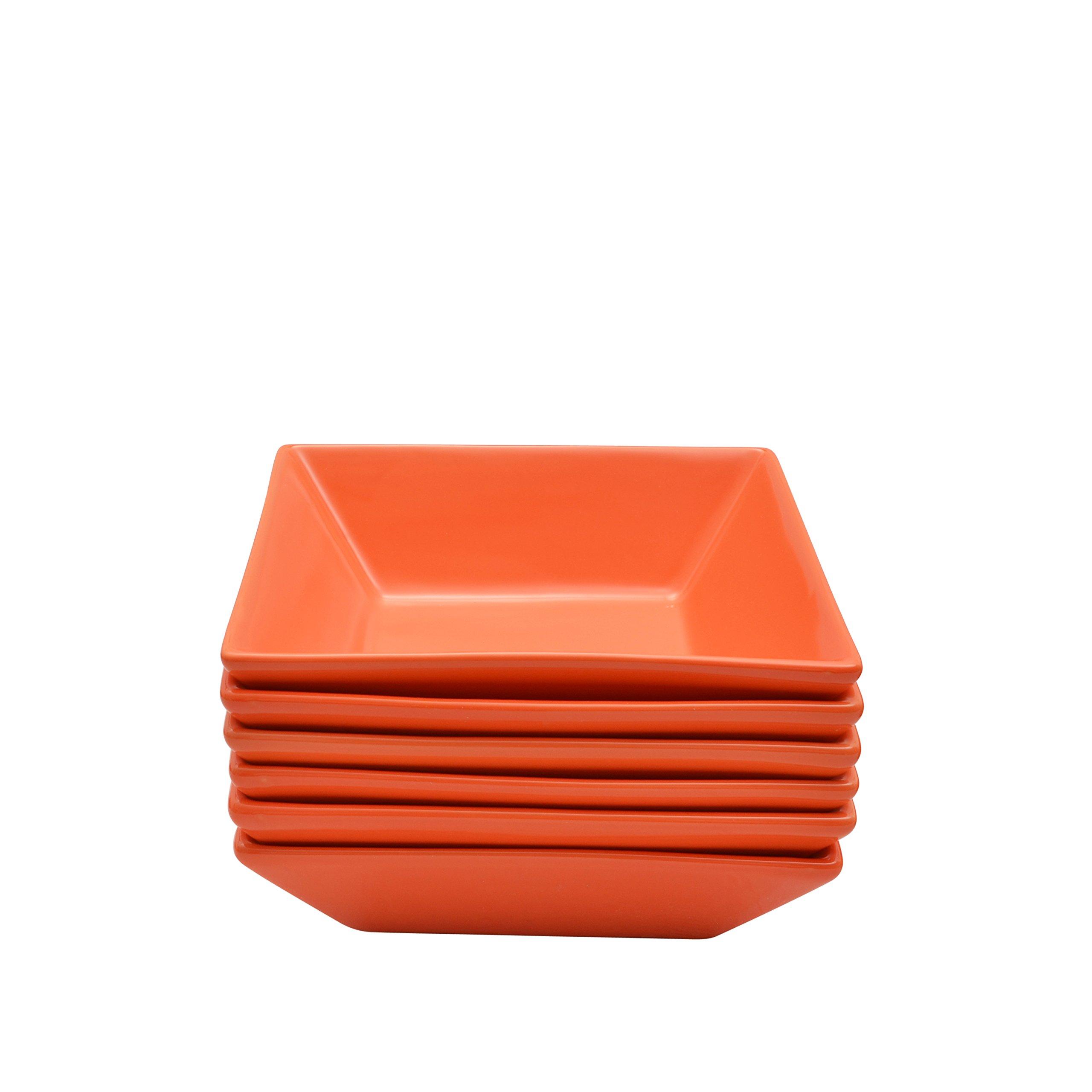 "10 Strawberry Street Square 7""/18 Oz Bowl, Set of 6, Orange"
