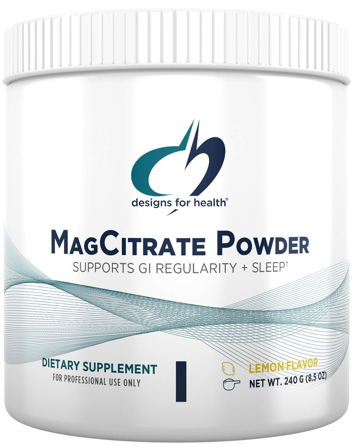 Designs for Health MagCitrate Powder - 300mg Magnesium Citrate Powder for Calming Support (60 Servings / 240g)
