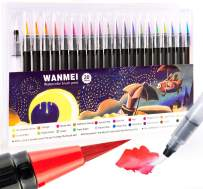 WANMEI Watercolor Markers Pen set of 20 - Painting Flexible for adults and Kids - Coloring with 1 Refillable Water - Blending Brush Drawing Book Calligraphy (20+1)