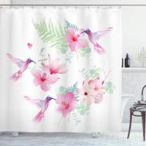 """Ambesonne Hummingbirds Shower Curtain, Tropical Flowers with Flying Hummingbirds Wild Nature Blooms, Cloth Fabric Bathroom Decor Set with Hooks, 70"""" Long, Pink Purple"""